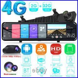 1080P 12 Android 8.1 Dual Lens Car GPS Rearview Mirror Dashcam Recorder Home