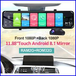 1080P 12 Android 8.1 Dual Lens Car GPS Rearview Mirror Dashcam Recorders Home
