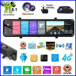 1080P HD 12 Android 8.1 4G WIFI 2CH Car GPS Rearview Mirror Dash Camera DVR