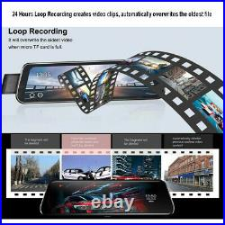 10 1080P Car RearView Mirror DVR Dual Lens With Rear View Camera 24hrs Recorder