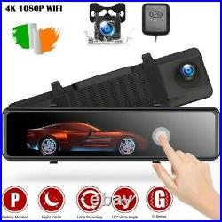 4K GPS Mirror Car Dash Cam 12 Touch Screen Dual Front and Rear Camera Wifi