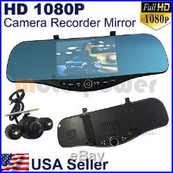 5 2 1080P Full HD Blue Tint Front Back Up Camera Recorder Mp8 Rearview Mirror