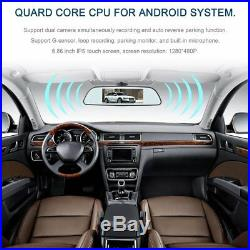 6.86 Full HD 1080P Car Mirror DVR Recorder +Free Rear Camera & AU Map With GPS RS