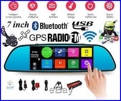 7'' Android Car DVR Dual Lens Camera Rearview mirror Full HD Bluetooth WIFI FM
