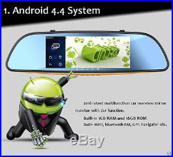 7 Android Wifi Full HD RearView Mirror GPS WIFI Car DVR Dual Camera Recorder