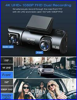 TOGUARD Dual Dash Cam 4K Front and 1080P Inside Cabin GPS In Car Dashboard